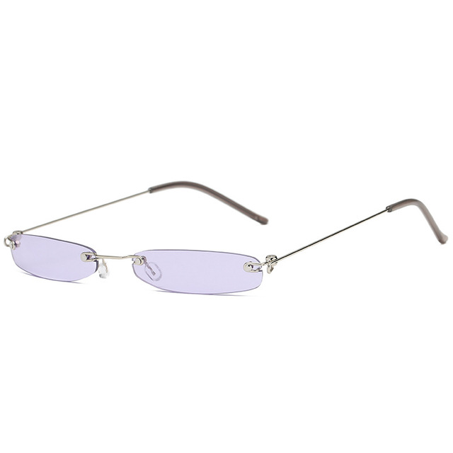 Ashion Retângulo Sem Aro Óculos De Sol Das Mulheres Marca Designer Pequeno  Quadro Óculos de Sol 01cbd535d6