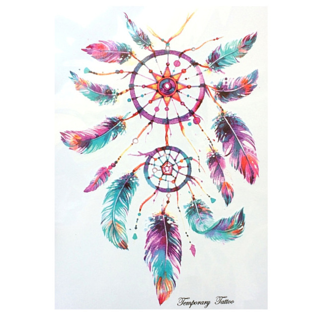 Fashion Waterproof Hot Temporary Tattoo Stickers 21 X 15 CM Dreamcatcher With Sexy Colorful Feathers