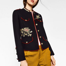 New 2016 Autumn Winter Woolen Coat Fashion Women Floral Embroidery Short Coats Abrigos Mujer