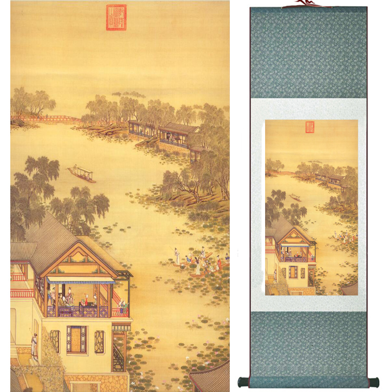 Mountain and river painting Home Office Decoration Chinese scroll painting mountain and River painting LTW2017112510