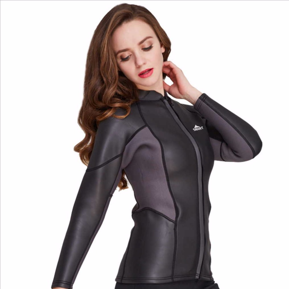 Sbart 2MM Thick Warm Rubber Diving Wetsuits Patchwork Color diving suit Long Sleeve Swimwear Girls Zipper Water Sport jacket sbart upf50 rashguard 2 bodyboard 1006