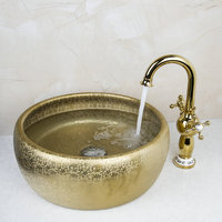 Washbasin Luxury Tempered Glass Hand Painted Waterfall 46049834 Lavatory Bathroom Sink Bath Combine Brass Faucets Mixers