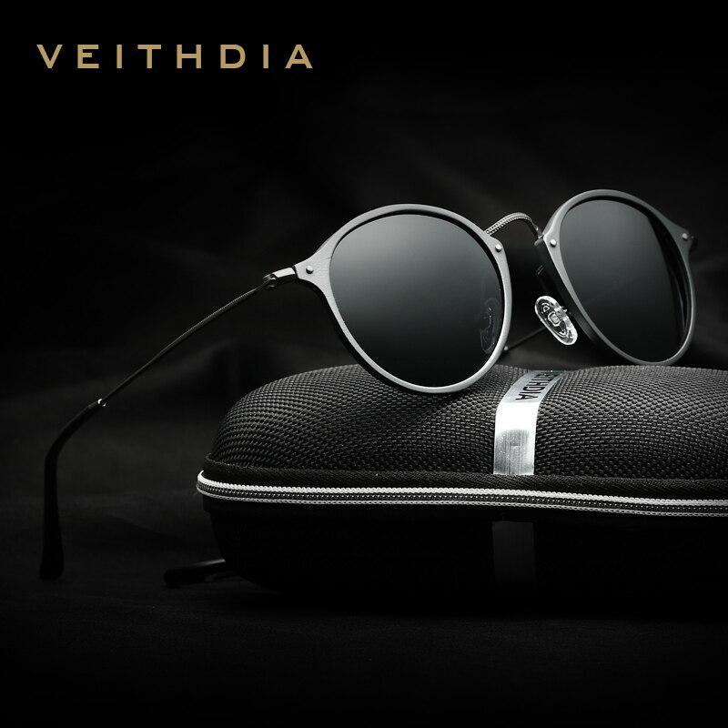 Progettista di Marca di Moda Unisex Occhiali Da Sole VEITHDIA Polarizzati Rivestimento Occhiali Da Sole A Specchio Maschio Rotondo Eyewear Per Gli Uomini/Donne 6358
