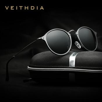 VEITHDIA Brand Sunglasses Fashion Round Unisex Sun Glasses Polarized Coating Mirror Sunglasses Male Eyewear For Men