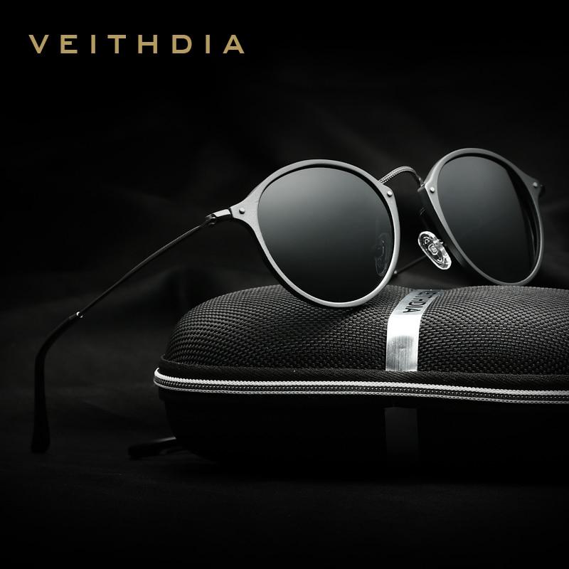 VEITHDIA ÓCULOS de Marca Designer de Moda Unissex Óculos de Sol Revestimento Polarizada Óculos De Sol Espelho Redondo Masculino Óculos Para Homens/Mulheres 6358