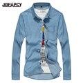 Большой Размер Мужчины Рубашка Джинсовая Хлопок отложным Воротником Карманы Мужчины Рубашки 2017 Новая Весна Длинным Рукавом Голубой рубашке homme