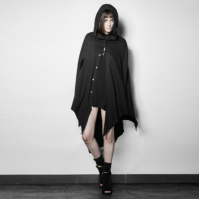 Gothic Dark Bats Tapered Conical Hat Cloak for Halloween Steampunk Women s  Casual Long Jacket Coats with Hood d3c7885045c