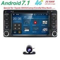 4G Android7.1 2 DIN Monitor Dell'automobile DVD GPS per Toyota Terios Old Corolla Camry Prado RAV4 Universale Capacitivo Bluetooth Specchio DAB