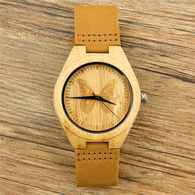 free shipping Fashion Women Watches Natural bamboo Butterfly Dial No Numbers Qua