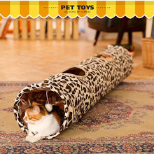 Pet supplies leopard cat tunnel linter folding cat toy cat tunnel tent pet supplies 135 cm free shipping