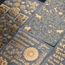 40 Stks/partij Vintage Gouden Folie Stickers Hello Kat Vogel Vieren Deco Sticker Scrapbooking Briefpapier Schoolbenodigdheden A6903