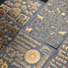 40 adet/grup Vintage altın folyo çıkartmalar Hello kedi kuş kutlamak deco sticker scrapbooking kırtasiye okul malzemeleri A6903