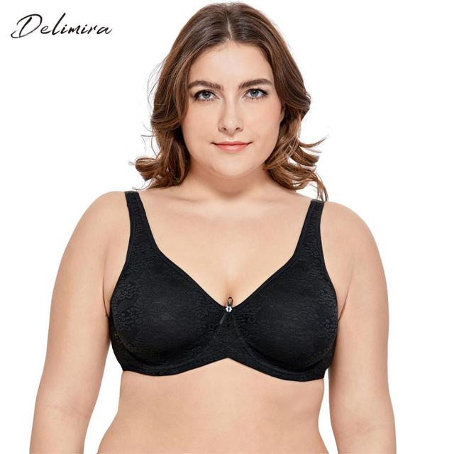 451a6223cf7e2 DELIMIRA Women s Plus Size Full Coverage Underwire Non Padded Smooth Lace  Bra 32-48 C DD E F G H