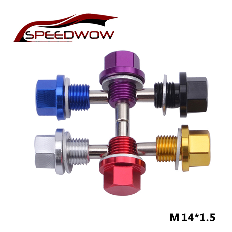 M14 x 1.5 Red Aluminum Alloy Magnetic Engine Oil Pan Drain Bolt Screw for Car