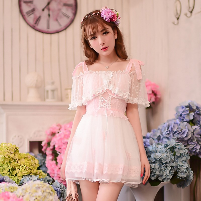 Princess sweet lolita dress Candy rain cute Japanese style Summer Condole belt Dew shoulder lace chiffon