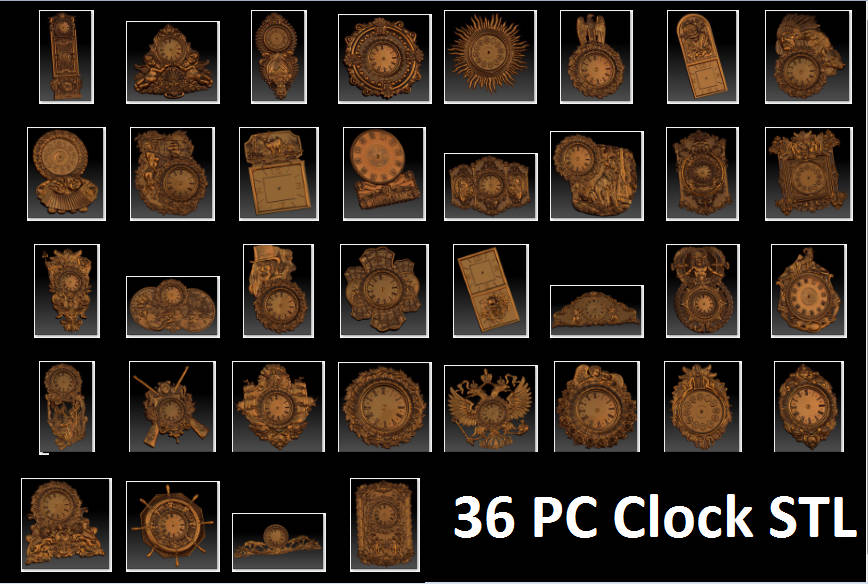 36 Pc 3d STL Wall Clocks Models Set For CNC Router Engraver Carving Machine Artcam Vectric CNC Files (ES)