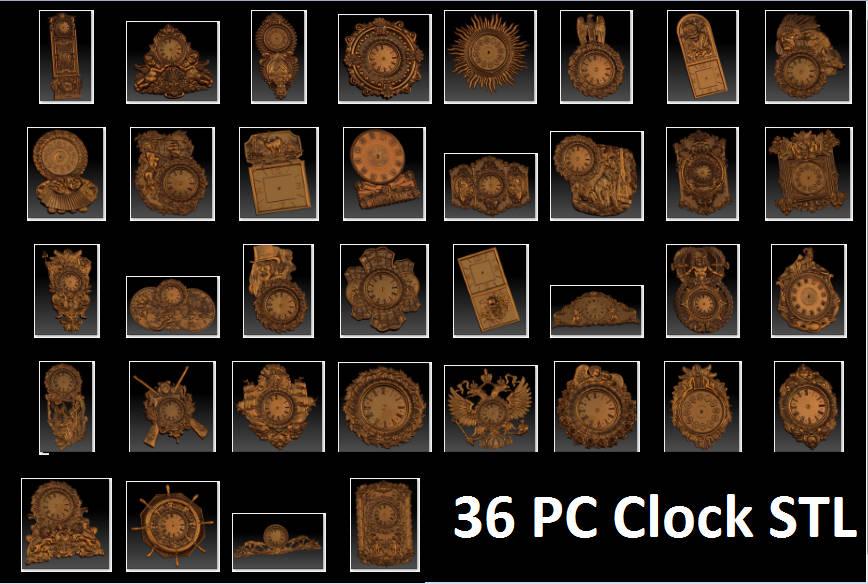 цена 36 Pc 3d STL Wall Clocks Models Set for CNC Router Engraver Carving Machine Artcam Vectric CNC files (ES)