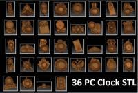 36 Pc 3d STL Wall Clocks Models Set for CNC Router Engraver Carving Machine Artcam Vectric CNC files (ES)