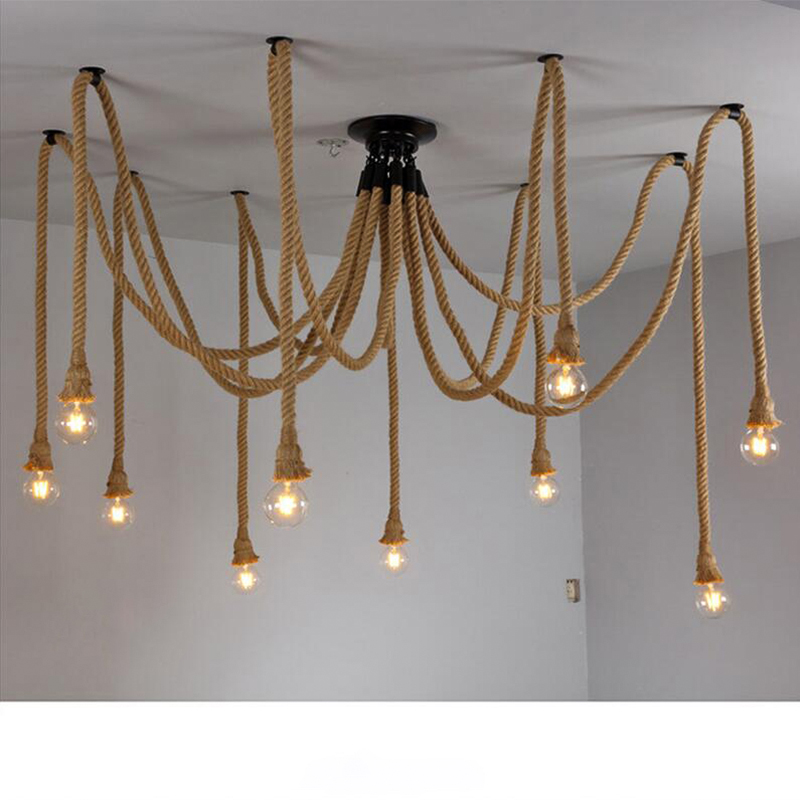 Retro Hemp Rope Chandelier Vintage Spider Lamp LED Industrial Lighting E27 Edison Bulb lustre For Restaurant Home Decoration hemp rope chandelier antique classic adjustable diy ceiling spider lamp light retro edison bulb pedant lamp for home