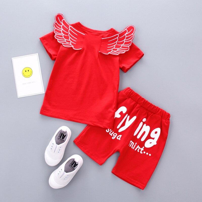 2018 summer baby wear cotton letter short sleeves backside wing design T-shirt elastic shorts comfortable breathe freely sets