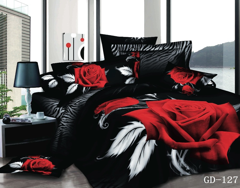 Black And Red Bedroom Sets popular black red comforter-buy cheap black red comforter lots