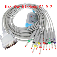 Compatible with 15pin Mindray R3 R12 ECG EKG monitor 040 001644 00 of 12 lead ECG cable and leadwires,4.0banana plug,IEC or AHA.