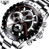LIGE Men Watch Fashion Sport Quartz Watches Mens Top Brand Luxury Full Steel Business Waterproof Casual Watch Relogio Masculino