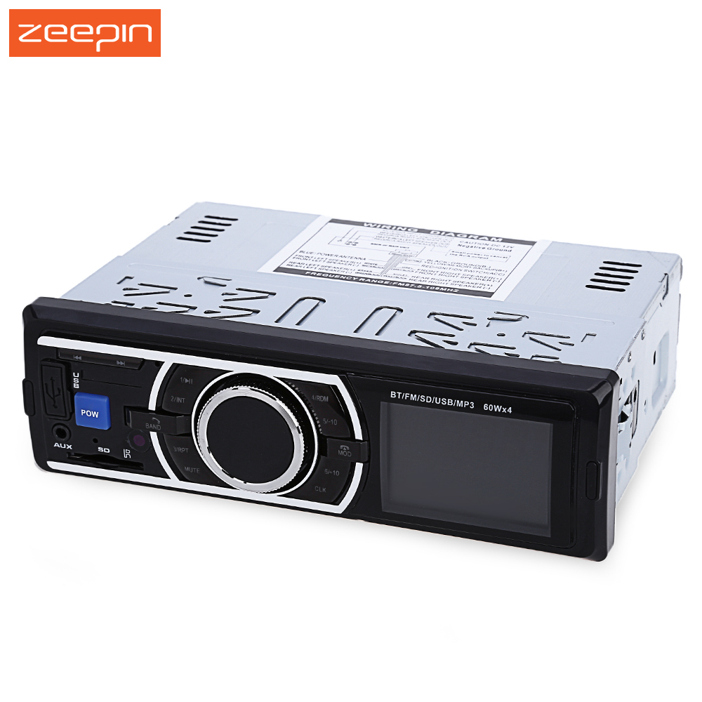 Zeepin 12V Car Stereo In-Dash FM Radio MP3 IR Remote Control Audio Player Support Bluetooth 3.0 with USB SD AUX Port
