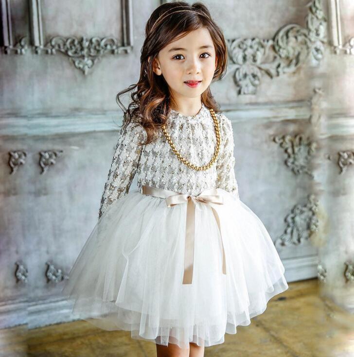 2017 New Autumn Winter Kids Toddlers Girls Dresses Dot Bow Necklace Free Party Princess Dress Girl Clothing Kids Clothes new fashion autumn winter girl dress polka dot