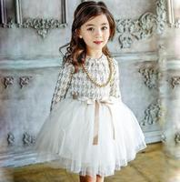 2017 New Autumn Winter Kids Toddlers Girls Dresses Dot Bow Necklace Free Party Princess Dress Girl