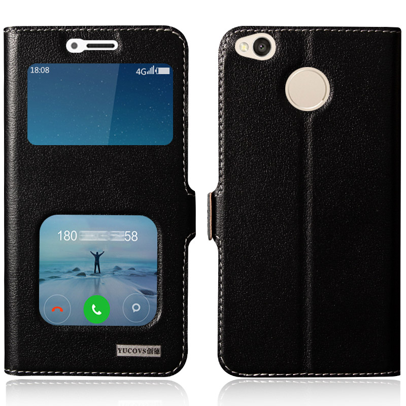 6Color Genuine Leather cover For Xiaomi Redmi 4X Case Real Natural Cow Skin cover for Xiaomi Redmi 4X Pouch Magnetic View window