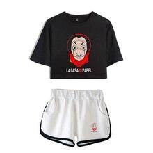 TV series Money Heist La Casa de Papel House of Paper print Leisure Women Two Piece Set Shorts+lovely T-shirts Hot Sale Clothes