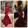 Imagem real longo vermelho Prom vestidos com flor artesanal vestidos colarinho alto sereia Prom