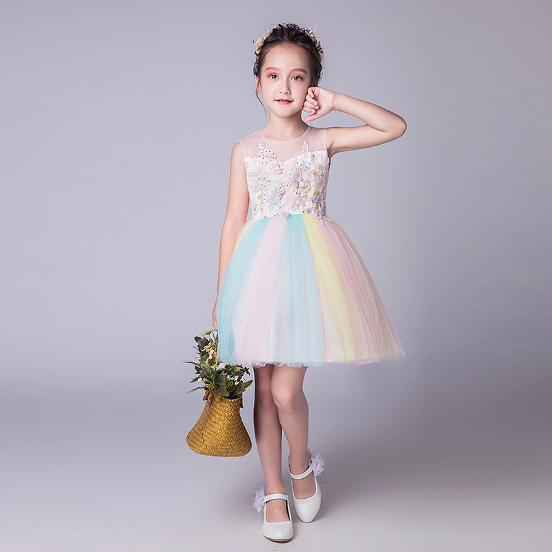 0515a91267d8e US $26.83 41% OFF|Rainbow Girls Dress Kids Summer Lolita Style Girls  Vestido Infantil 2019 Kids Clothes for Girls 5 7 9 11 13 Year Old  RKF184069-in ...