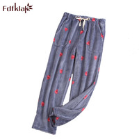 Fdfklak Winter new lounge wear home pants for women flannel pajama pants sleep bottoms pyjama trousers women M XL Q1493