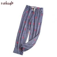 Fdfklak Winter new lounge wear home pants for women flannel pajama pants sleep bottoms pyjama trousers women M XL Q1493