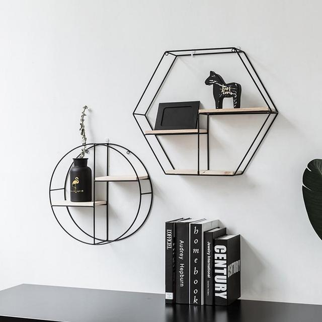 Innovative Geometric Shape Living Room Storage Rack Wall Shelf Wall-mounted Decoration Pendant Restaurant Porch Room Decor  1