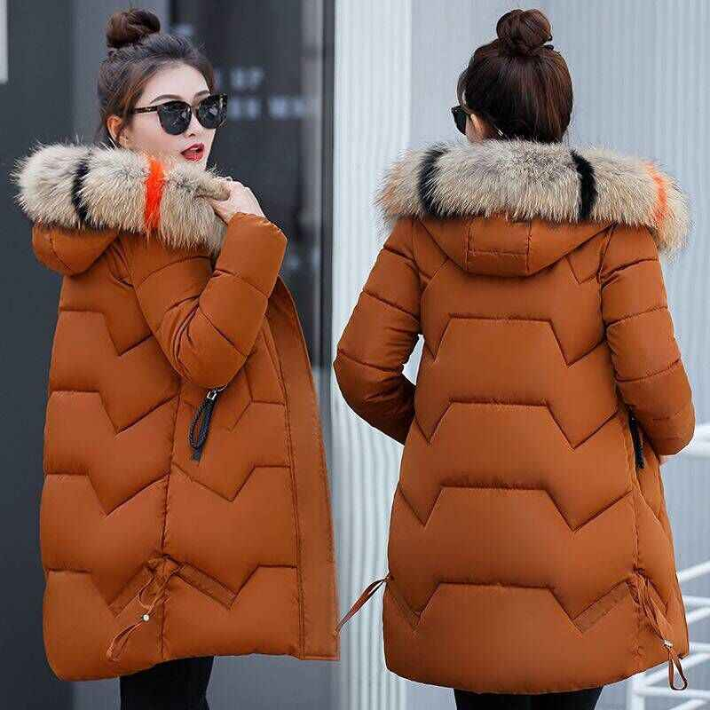 New cotton-padded clothes in the female long heavy hair thickening cotton-padded jacket coat big yards of cultivate morality