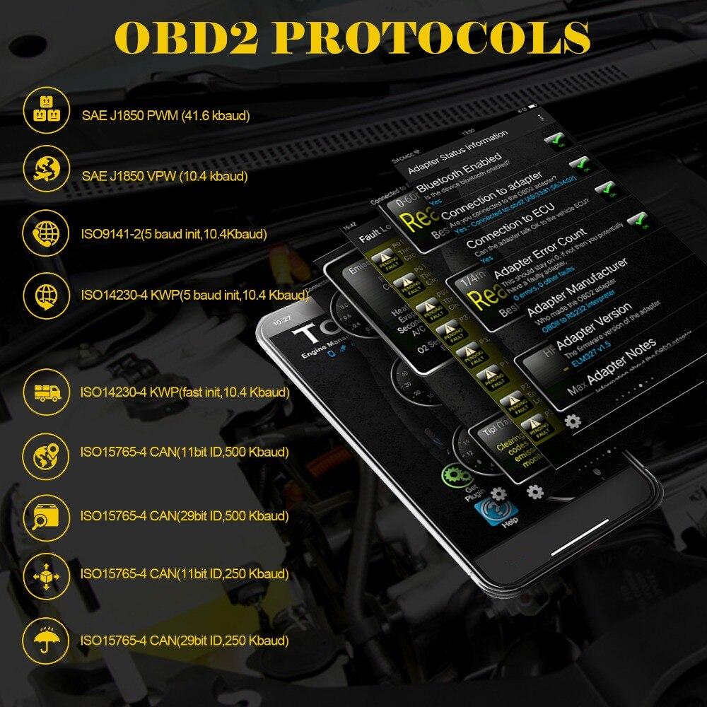 OBD2 II ELM327 V1.5 Bluetooth Автомобильный ELM 327 OBD сканер автоматический считыватель кодов диагностический инструмент Автомобильный многофункциональ...