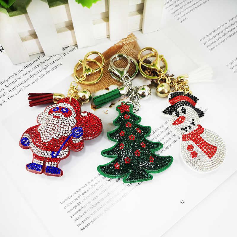 คริสต์มาสหมีหัวใจพวงกุญแจหนัง Gold Key โลหะคริสตัล Key Chain กระเป๋าจี้อัตโนมัติของขวัญจัดส่ง