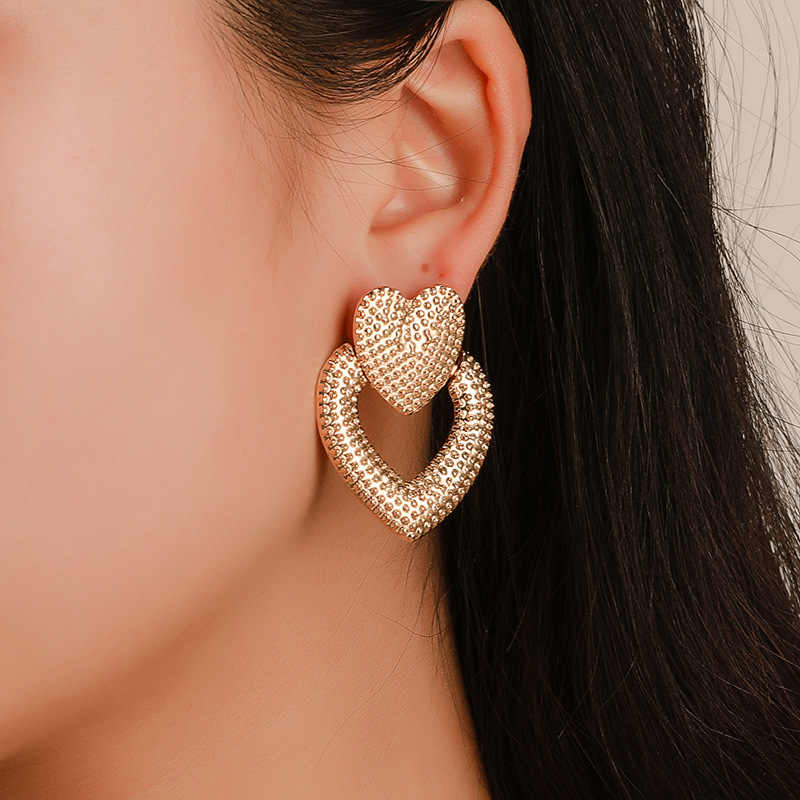 Heart Earrings for Women Geometric Earrings Metal Vintage Statement Big Gold Fashion Bohemian Drop Dangle Earrings Jewelry
