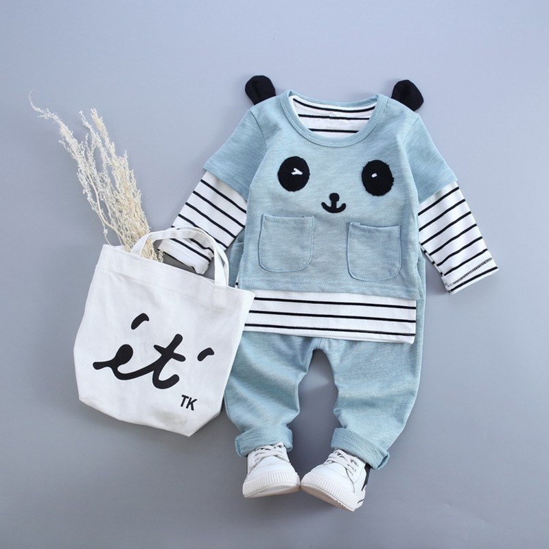 Anlencool Baby Girl Clothes  Autumn Baby Boy Clothes(Long Sleeve Striped Shirt+Panda Shirt+Pants)3Pcs Baby Clothing Sets  2016 499pcs bela 10376 new star wars at dp building blocks toys gift rebels animated tv series compatible