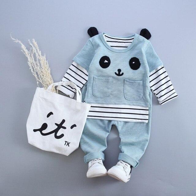 Anlencool Baby Girl Clothes  Autumn Baby Boy Clothes(Long Sleeve Striped Shirt+Panda Shirt+Pants)3Pcs Baby Clothing Sets