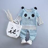 Anlencool Baby Girl Clothes 2016 Autumn Baby Boy Clothes Long Sleeve Striped Shirt Panda Shirt Pants