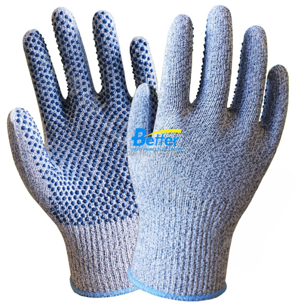 Anti Cut Work Gloves HPPE With Nitrile Finger Dipped  Nitrile Dots Cut Resistance Work Gloves 2017new style 316l anti cut gloves with stainless steel safety protective gloves with a anti cut hppe gloves 2 pairs