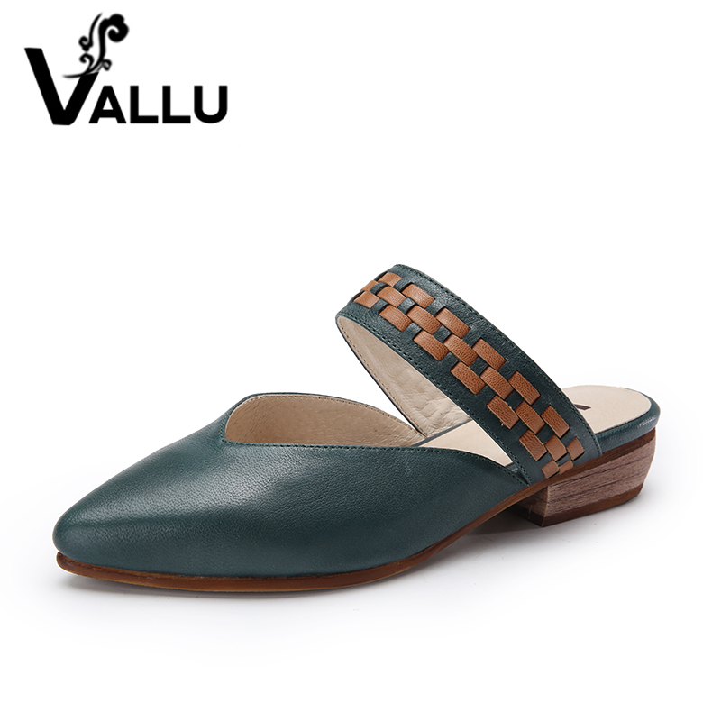 2019 أحذية الصيف اليدوية البغال المرأة مضخات الكعوب المنخفضة وأشار أصابع جلد طبيعي أزرق بني أسود