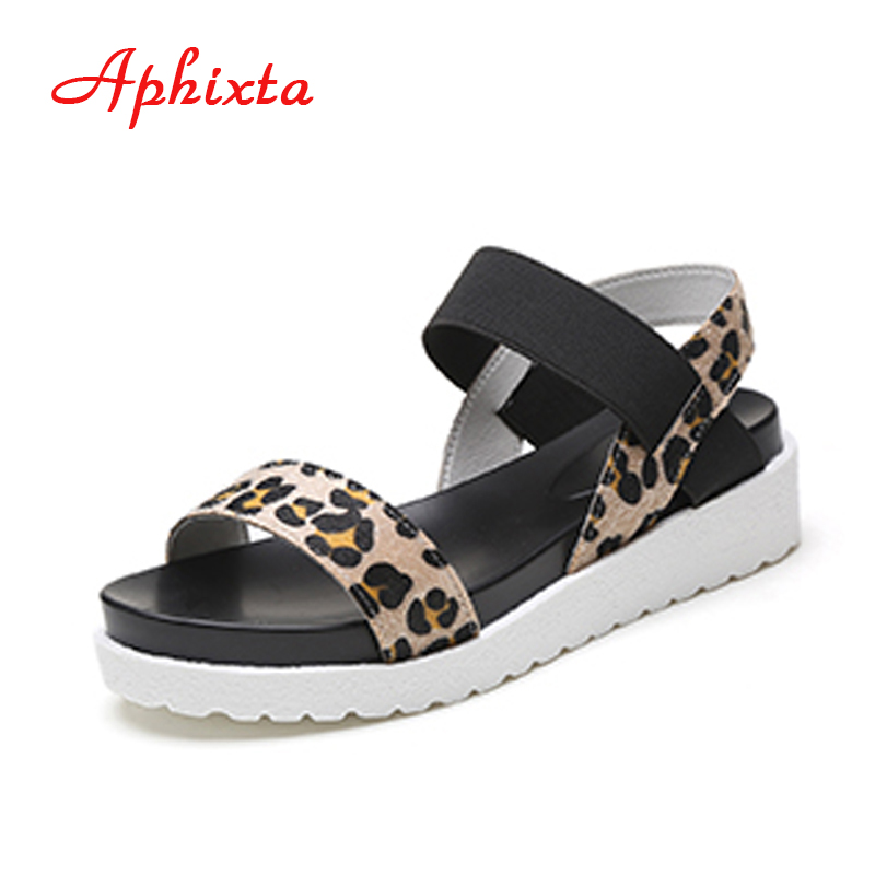 Aphixta Summer Shoes Woman Hot Selling Leopard Print Peep-toe Flat Roman Women Sandals Mujer Sandalias Plus Size CN35-40 women shoes summer women sandals 2017 peep toe gold silver roman sandals shoes platform brand creepers woman sandalias size 43