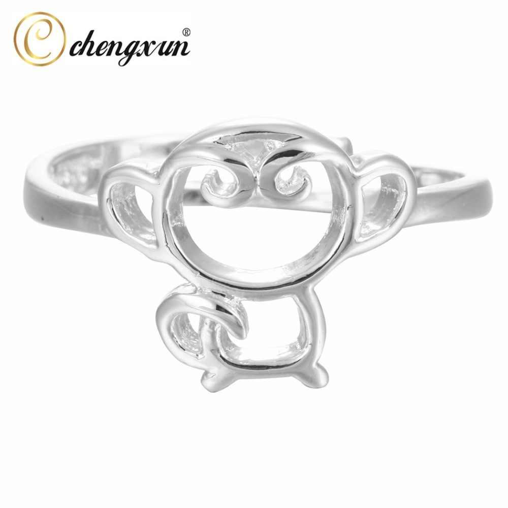 CHENGXUN חמוד קריקטורה קוף טבעת תכשיטים בעלי החיים טבעות עבור בני נוער בנות מסיבת חתונה טבעת