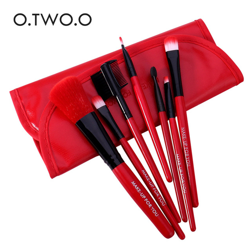 O.TWO.O Red Makeup-Brushes Case Eyeshadow Blush Lips with Soft Synthetic-Hair for 7pcs/Set title=