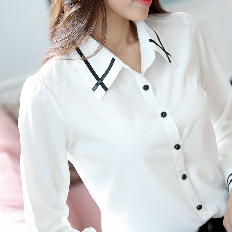 Plus Size S 3XL White Blouse Black Buttons OL Formal Women Blouse ...